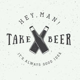 Vector vintage beer logo with slogan and fun motivation Royalty Free Stock Photography