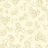 Vector Vintage Beige Berries Nuts Drawing Seamless Stock Photos