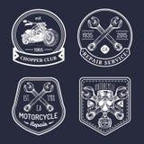 Vector vintage biker club signs. Motorcycle repair logos set. Hand sketched garage labels. Custom chopper store emblems. Stock Photos