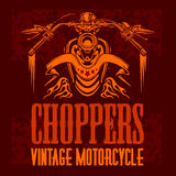 Vector vintage bikers badge. Retro chopper bike Stock Images