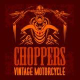 Vector vintage bikers badge. Retro chopper bike Stock Images