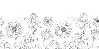 Vector Vintage Black White Flowers Drawing Horizontal Border Seamless Repeat Pattern  Royalty Free Stock Photography