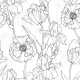Vector Vintage Black White Flowers Drawing Seamless Repeat Pattern   Royalty Free Stock Photography