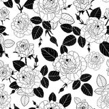 Vector vintage black and white roses and leaves seamless repeat pattern. Great for retro fabric, wallpaper, scrapbooking Stock Photo