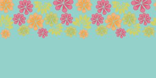 Vector vintage blue floral horizontal border carnival seamless pattern background stock illustration
