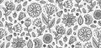Vector vintage boho style black and white lineart flowers vector seamless pattern tile stock illustration