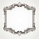 Vector vintage border frame engraving. With retro ornament pattern in antique rococo style decorative design