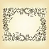 Vector vintage border frame engraving. With retro ornament pattern in antique rococo style decorative design vector illustration
