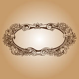 Vector vintage border frame engraving with retro ornament patter Stock Photography