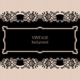Vector vintage border frame with retro ornament pattern. Stock Photos