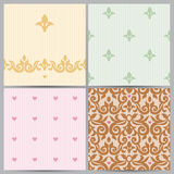 Vector vintage border and seamless patterns in Victorian style. Royalty Free Stock Photo