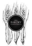 Vector vintage bread and bakery illustration. Hand drawn banner. Royalty Free Stock Photos
