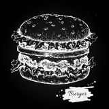 Vector vintage burger chalkboard drawing. Hand drawn monochrome Stock Photo
