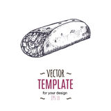 Vector vintage burrito drawing. Hand drawn monochrome fast food illustration. Stock Images