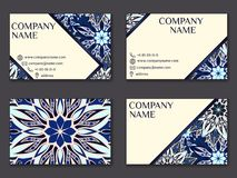 Vector vintage business card set. Beauty designs. Front page and. Vector vintage business card set. Beauty designs. Floral mandala pattern and ornaments. Front Stock Images