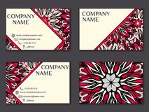 Vector vintage business card set. Beauty designs. Front page and. Vector vintage business card set. Beauty designs. Floral mandala pattern and ornaments. Front Stock Photography