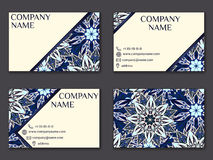Vector vintage business card set. Beauty designs. Front page and Stock Image