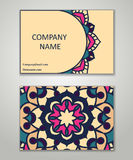 Vector vintage business card set. Beauty designs. Front page and. Vector vintage business card set. Beauty designs. Floral mandala pattern and ornaments. Front Stock Image