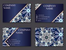 Vector vintage business card set. Beauty designs. Front page and. Vector vintage business card set. Beauty designs. Floral mandala pattern and ornaments. Front Royalty Free Stock Photography