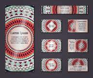 Vector vintage business and invitation card set. Floral mandala pattern ornaments. Oriental design Layout. Islam, Arabic, Indian, Stock Photos