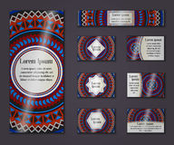 Vector vintage business and invitation card set. Floral mandala pattern ornaments. Oriental design Layout. Islam, Arabic, Indian, Stock Photo