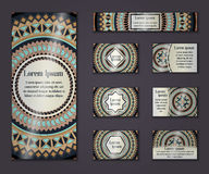 Vector vintage business and invitation card set. Floral mandala pattern ornaments. Oriental design Layout. Islam, Arabic, Indian, Stock Photography