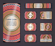 Vector vintage business and invitation card set. Floral mandala pattern ornaments. Oriental design Layout. Islam, Arabic, Indian, Royalty Free Stock Photos
