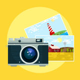 Vector of vintage camera and pix. Royalty Free Stock Images