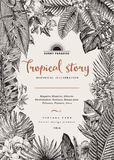 Vector vintage card. Botanical illustration. Tropical flowers and leaves. Black and white vector illustration
