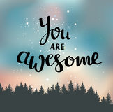 Vector vintage card with forest, night sky and phrase you are awesome. Royalty Free Stock Photo