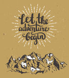 Vector vintage card with mountains, sunburst and inspirational phrase Let the adventure begin. Royalty Free Stock Images