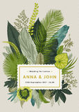 Vector vintage card. Wedding invitation. Botanical illustration. Tropical leaves stock illustration