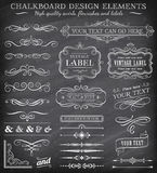 Vector Vintage Chalkboard Labels and Ornaments Royalty Free Stock Photo