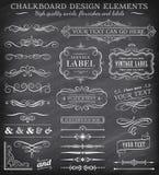Vector Vintage Chalkboard Labels and Ornaments vector illustration