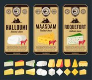 Vector vintage cheese labels and different types of cheese detailed icons stock images