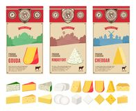 Vector vintage cheese labels with farming landscape and different types of cheese detailed icons stock photo
