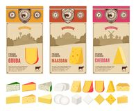 Vector vintage cheese labels with farming landscape and different types of cheese detailed icons stock photography