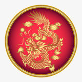 Vector vintage Chinese dragon  engraving illustration Royalty Free Stock Images