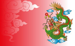 Vector vintage Chinese dragon engraving Royalty Free Stock Photography
