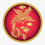 Vector vintage Chinese phoenix engraving with retro ornament pattern Royalty Free Stock Photography