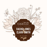 Vector Vintage Chocolate Brown Frame Floral Drawing Wedding Invitation With Stylish Retro Flowers and Text In Classic Stock Photo