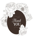 Vector Vintage Chocolate Brown Vintage Floral Drawing Wedding Thank You Card  Stock Photo