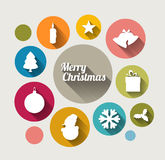 Vector Vintage christmas card with various seasonal shapes Royalty Free Stock Photo