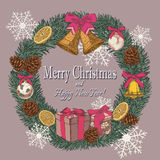 Vector vintage Christmas card with wreath of fir tree, fir cones, bells, dried oranges. And Christmas decorations Royalty Free Stock Photos