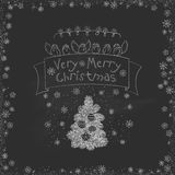 Vector vintage Christmas doodles. Seasonal hand drawn cartoon on black chalk dirty board Stock Images