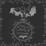 Vector vintage Christmas doodles. Seasonal hand drawn cartoon on black chalk dirty board Royalty Free Stock Images
