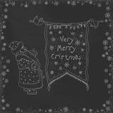 Vector vintage Christmas doodles. Seasonal hand drawn cartoon on black chalk dirty board Stock Photography
