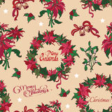 Vector Vintage Christmas Flowers Bells Seamless Stock Photo
