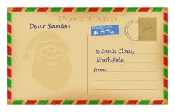 Vector vintage Christmas letter to Santa template. Wish list design. stock illustration