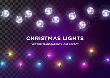 Vector Vintage Christmas Lights. Set of Multi-Colored Xmas Light. S. Silver LED Glass Garland, Luxury Design Element for Greeting Card, Holiday Party Invitation stock illustration